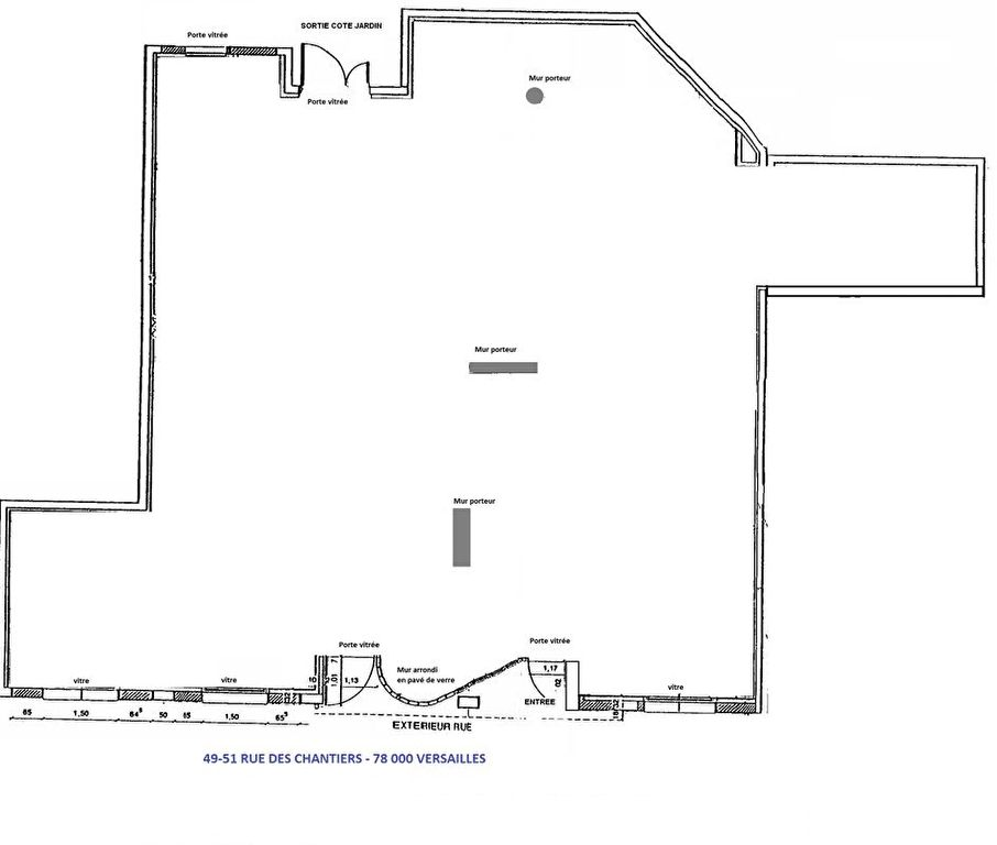 Versailles, Murs local commercial 200 m² avec parkings